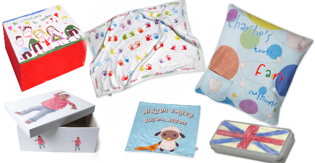 idee regalo per bimbi come scatole, copertine, cuscini , portapenne colorati e simpatici.